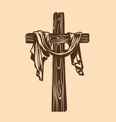 hand drawn cross of jesus with drapery vector image