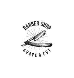 hand drawn razor blade vintage barber shop vector image