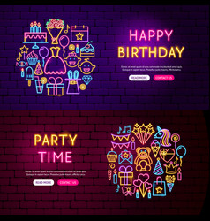 happy birthday website banners vector image