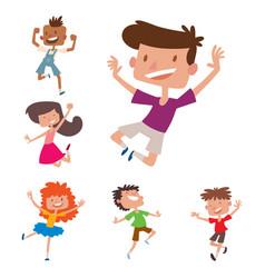 Happy children in different positions big vector