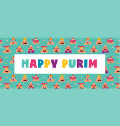 Happy purim banner with funny hamantashen vector