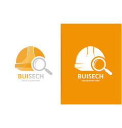 helmet and loupe logo combination hat and vector image