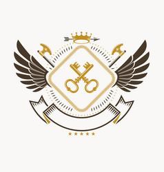 heraldic coat of arms decorative emblem with bird vector image