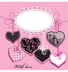 holiday background with black and pink hearts vector image