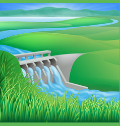 hydro dam water power energy vector image