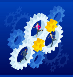 isometric businessmen running in gears wheels the vector image
