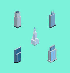 Isometric skyscraper set of tower business center vector