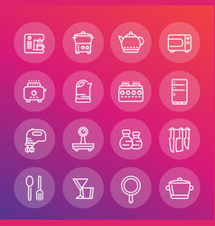Kitchen line icons set cooking related objects vector