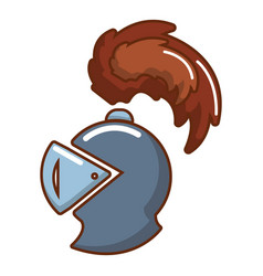 knight helmet mascot icon cartoon style vector image