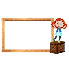 Little girl standing on box and border vector