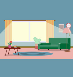 Living room with furniture cozy interior with vector