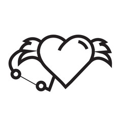 Love hearts wings pen tool design vector
