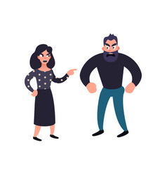Man and woman conflict family quarrel vector
