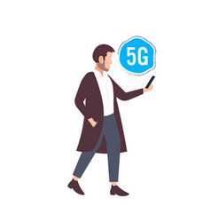 man using smartphone 5g online communication fifth vector image