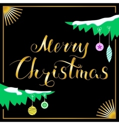 Merry Christmas and Branch Black vector image