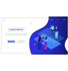 Mobile repair service - modern colorful isometric vector