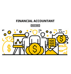 Money accountant banner outline style vector