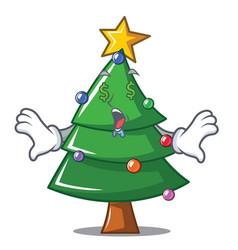 Money eye christmas tree character cartoon vector