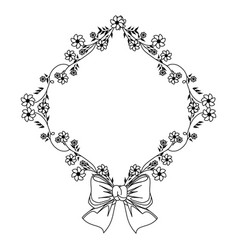 Monochrome contour with diamond frame with vector