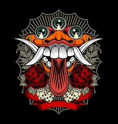 Monster demon with rose and dice hand vector