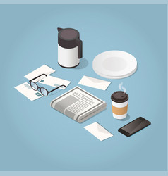 morning newspaper isometric concept vector image