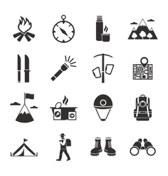 Mountain Climbing Black White Icons Set vector image