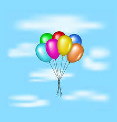 multicolored glossy balloons flying on blue sky vector image