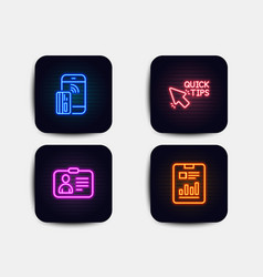 Neon set quick tips contactless payment and id vector