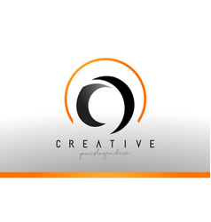 O letter logo design with black orange color cool vector