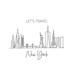 one single line drawing new york city skyline vector image
