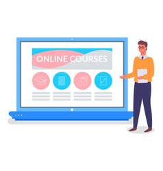 online education training or e-learning concept vector image