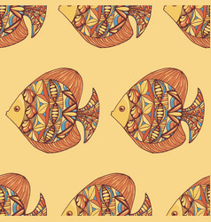 Ornated fish pattern with yellow background vector