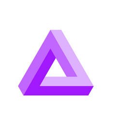 Penrose triangle icon in violet geometric 3d vector