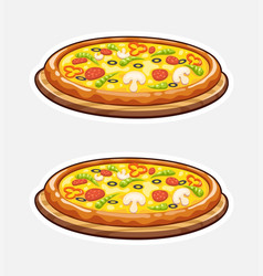 Pizza on wooden board italian vector