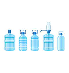 Plastic water bottle set containers different vector