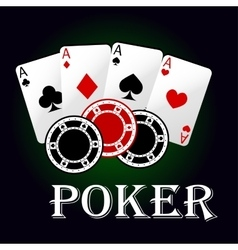 Poker symbol with aces and gambling chips vector