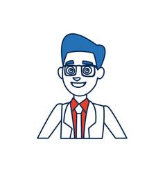 Portrait cartoon man young wearing suit tie and vector