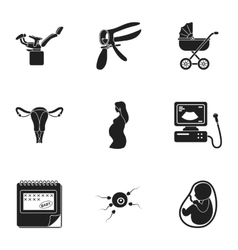 Pregnancy set icons in black style Big collection vector