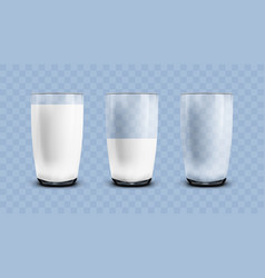 Realistic empty half and full milk transparent vector