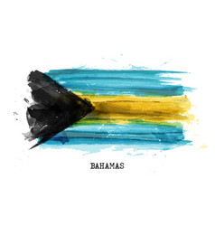 realistic watercolor painting flag bahamas vector image