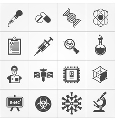 Science Black White Icons Set vector