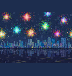 Seamless night city landscape with fireworks vector