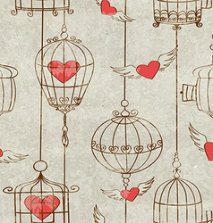 Seamless pattern with birds cage and hearts vector