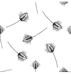 Seamless pattern with black and white lagurus vector