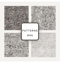 Set of patterns with grungy hand-drawn wood vector image