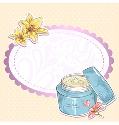 Skincare make-up cream jar isolated card vector