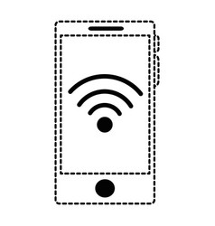 smartphone device with wifi signal vector image