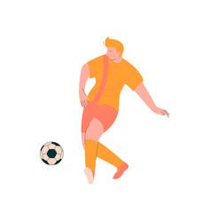 soccer player male footballer character in orange vector image