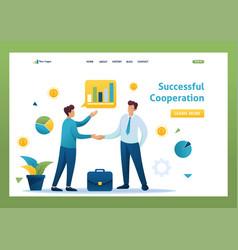 successful cooperation between two businessmen vector image