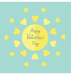 Sun with hearts in flat design Valentines day vector image
